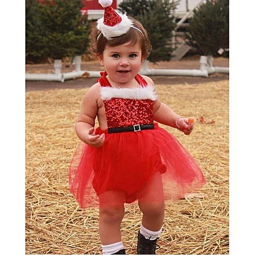 354c3a8c4 Fashion Newborn Baby Girl Rompers Santa Claus Jumpsuit Dress Christmas  Outfits Costume - Red