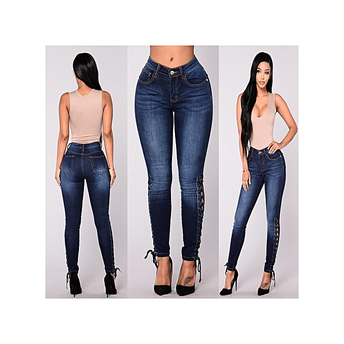 1 Pc Women High Waist Jeans Fashion Stretchy Button Fly Denim Skinny Pants Dark Blue Trousers With Pocket 5 Sizes The Latest Fashion Bottoms