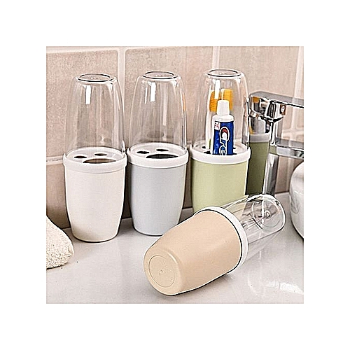 Toothbrush And Paste Holder With Cover - 3pcs