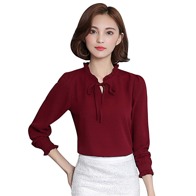 a7e213241bb Fashion Bobuniu Women Ruffles Chiffon Bow Tie Blouse Long Sleeve T. Funcee  Women Chiffon Bow Tie Long Sleeve Blouse Office Lady Formal T Shirt Tops