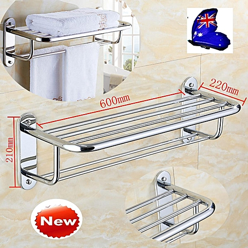 9PCS Wall Mounted Towel Rack Bathroom Hotel Rail Holder Storage Shelf Stainless Steel