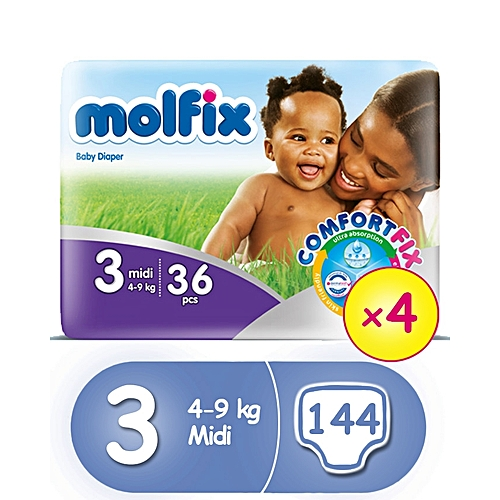 ComfortFix Diapers, Size 3 (x 4) (Total 144 Count)