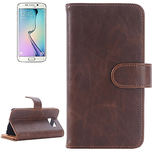 Generic For Samsung Galaxy S6 Edge Oil Skin Texture Horizontal Flip Magnetic Buckle Leather Case With 3 Page Card Slots & Wallet & Holder (Brown)