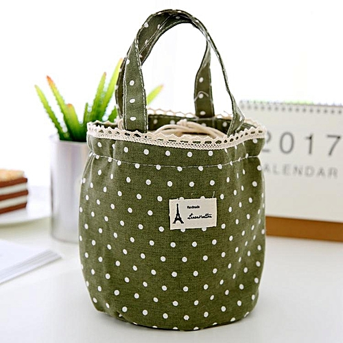 Sweet Wave Point Cotton And Linen Canvas Lunch Bag