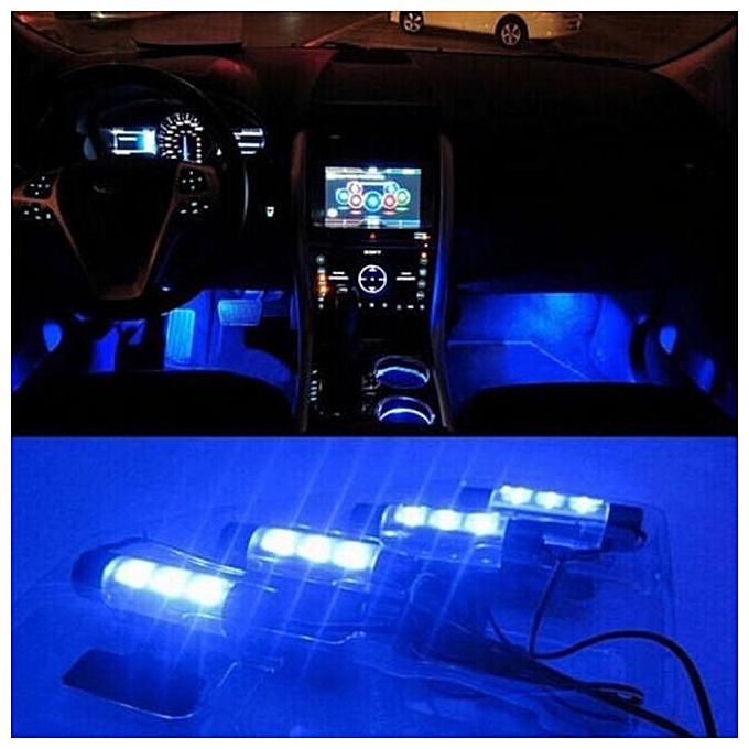 4pcs 3led 12v Car Interior Neon Under Dash Floor Led Light Strip Lamp Blue
