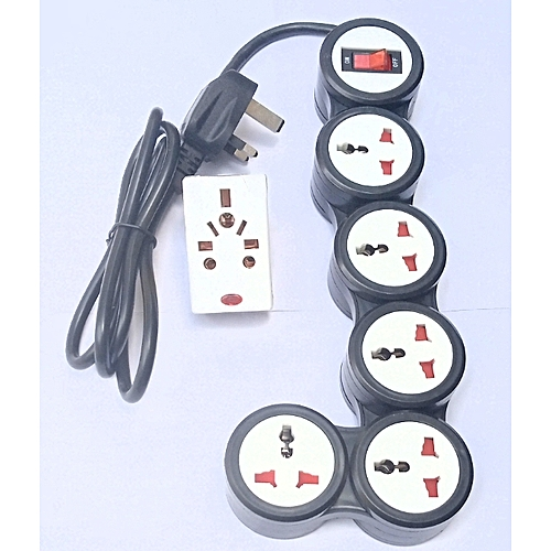 Foldable Pivot 5 Way Surge Protector Extension Box With Free Adaptor - Black