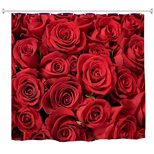 Red Rose Water-Proof Polyester 3D Printing Bathroom Shower Curtain