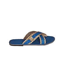 17b5978c0123 Men  039 s Blue Pam Slippers With Mesh Crossing