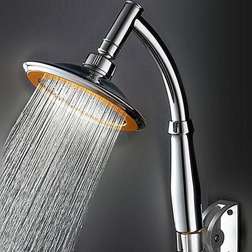 Adjustable High Pressure Round Rainfal Sprayerl Top Bathroom Shower Head -Silver