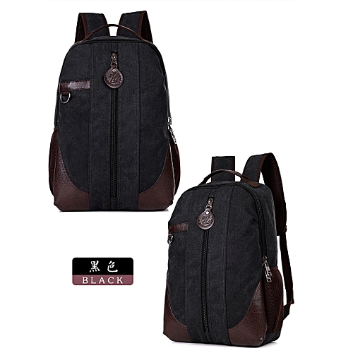 Men Large Vintage Canvas Backpack School Bag/Laptop Bag For Hiking Travel With Man Compartments For Laptop,Tablets,Phone,Watches.Etc. With Quality Quality Zipper, Strong Stitches. BLACK