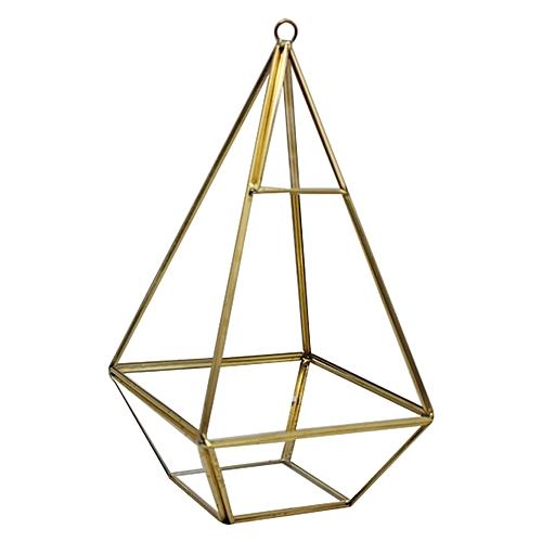 Decorative Crystal Tranparent Flower Glass Vase Geometric Shape Fashion Ornament For Home Wedding-Glass + Metal 12 X 12 X 24cm