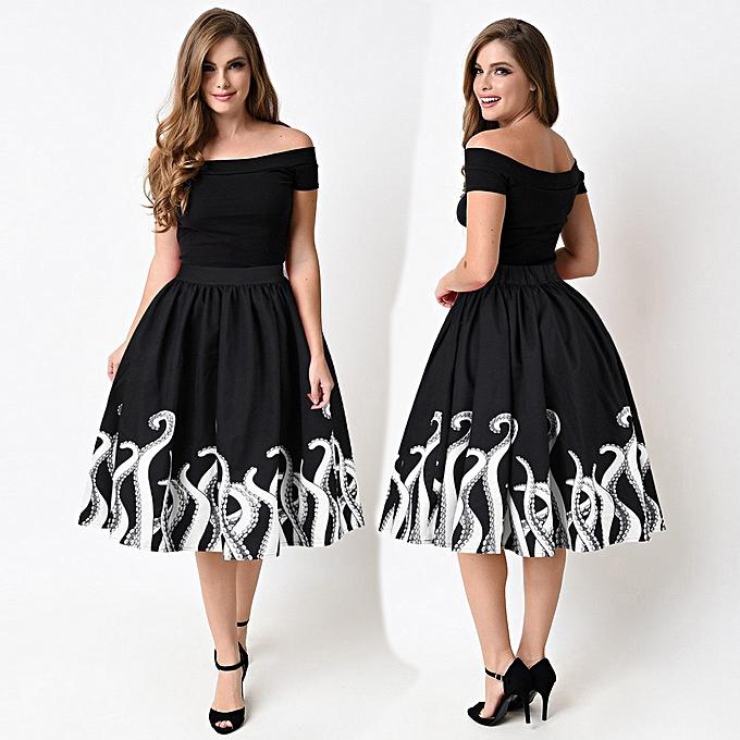 fdf11cde16fe Vogue Women s Octopus Squid Fancy Print Pattern Mini Knee Length Skater  Skirt XL