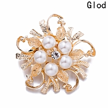 9818878bd4f Women Large Brooches Lady Snowflake Imitation Pearls Rhinestones Crystal  Wedding Brooch Gold