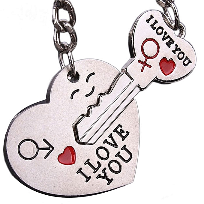 24c98a818a New Couple I LOVE YOU Heart Keychain Ring Keyring Key Chain Lover Romantic