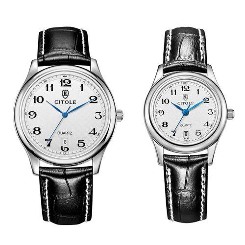 Fashion CITOLE Genuine Quartz Watches Couple Watches Fashion Business Digital Leather Men And Women Calendar Watches