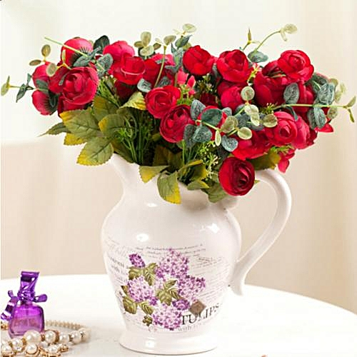 10Heads Red Tea Rose Home Decoration Artificial Flowers- Red