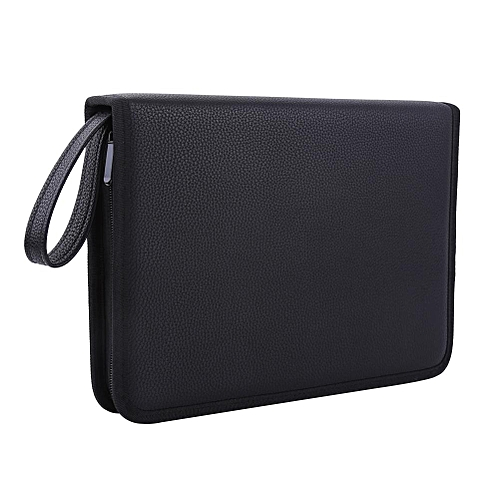 72 Slots PU Leather Foldable Zipper Pen Bag Black