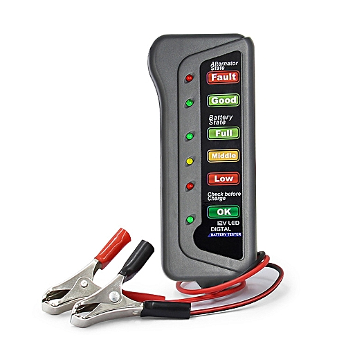 12V Car Digital Battery Load Tester 6 LED Alternator Motorcycle Vehicle  Display