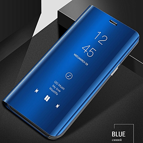 pretty nice 3a4bb ef317 For Redmi Note 5 Pro Phone Case Mirror Flip Case For Xiaomi Full Cover Flip  Leather Cover Dirt-resistant Anti-knock-Blue