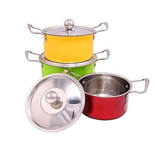 Generic 4 Pcs High Cookware Indian Stock Pot Colored Set And Food Server-----,