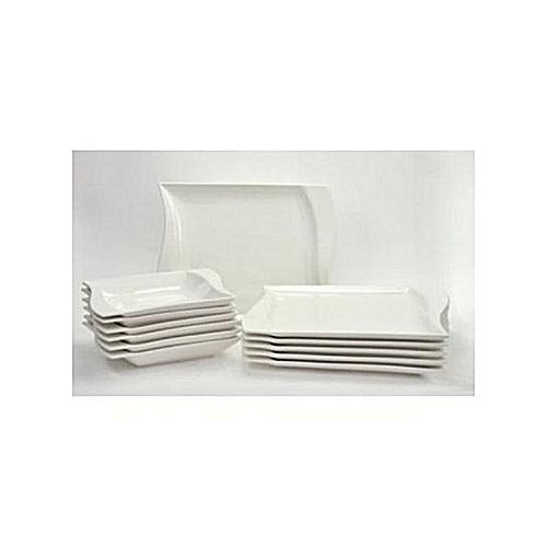 12pcs Flat Plate And Soup Bowl