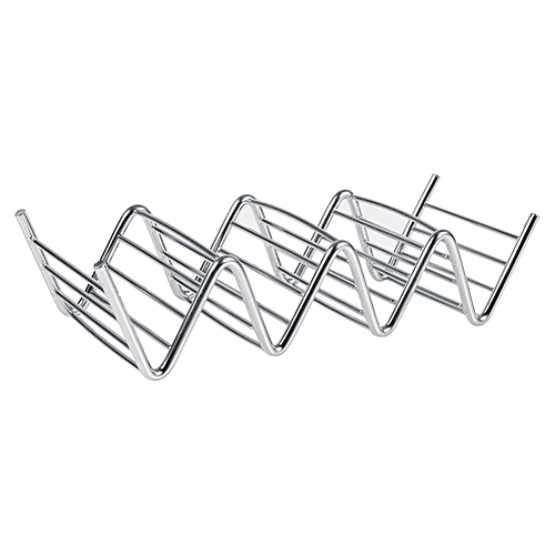 Minxin 1Pc Practical Taco Holder 4 Wave Shape Stainless Steel Food Rack Hard Shells Kitchen Tools