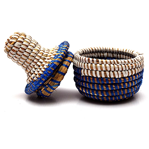 Hand Crafted Senegalese Jewelry Storage Baskets - Blue Mix