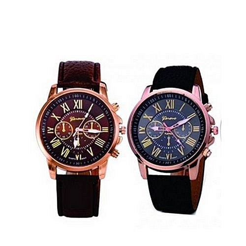 Geneva 2-1 Leather Wrsit Watch-Brown&Black