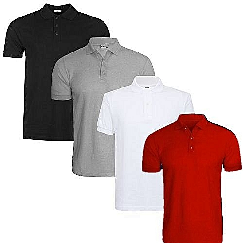 4-In-1 Quality Men's Polo T-Shirts - Grey/White/Black/Red