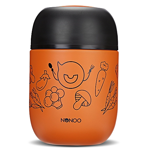 NONOO Food Soup Vacuum Thermos BPA-free Stainless Steel Lunch Jar With Folding Spoon 460ml