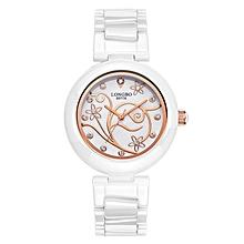 Watch Women LONGBO Luxury 2016 Elegant Super Slim Quartz Ceramic Watch Female Wrist Fashion Casual Rose Gold Dress Watch  (Gold&White)