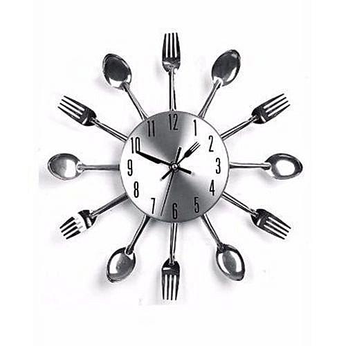 Cutlery Kitchen Wall Clock - Silver