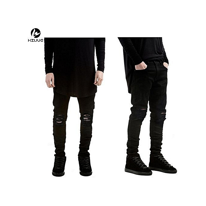 7e93f8b3114 2017 New Black Ripped Jeans Men With Holes Super Skinny Famous Designer  Brand Slim Fit Destroyed