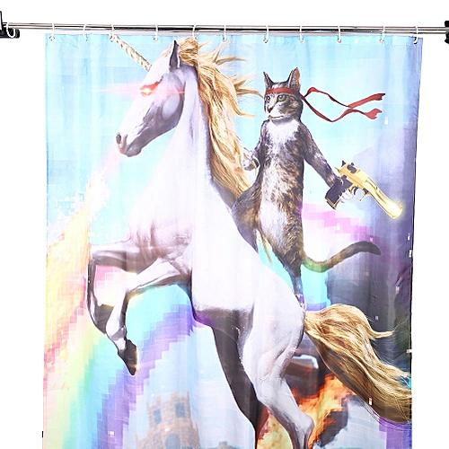 "3D Pattern Bathroom Fabric Home Waterproof Shower Curtain W/Hooks 66""x72"""