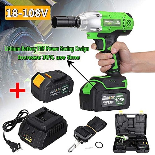 NEW 18-108V Cordless Impact Wrench Power Drills Hammer High Torque 2 Li-ion Battery With LED Light Power Tools Drill