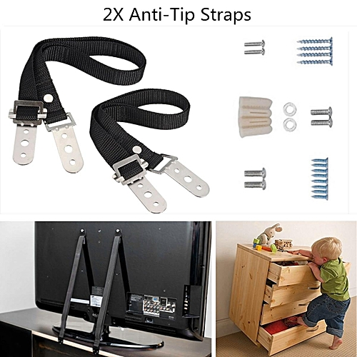 2PCS ANTI TIP/SECURE TV POSITIONING STRAPS Baby/Child Standard Safety Proofing