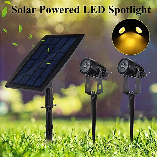 Solar Panel With Two Spotlights Solar Powered LED Spot Lawn Light Warm White