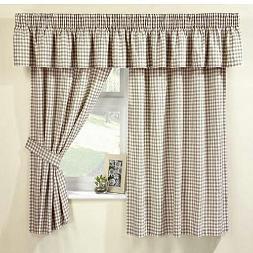 Spicy Kitchen Curtain 013(3 Piece Set) - Beige Brown Checkers