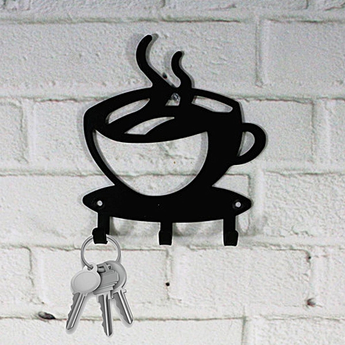 4 Pcs Home Decorative Coffee Wall Mount Metal 3 Hook Key Rack Hanger Organizer Decor