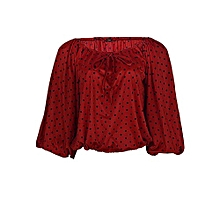 07d2ea4437 Rope Celebrity Long Sleeve Blouson Top - Red Polka