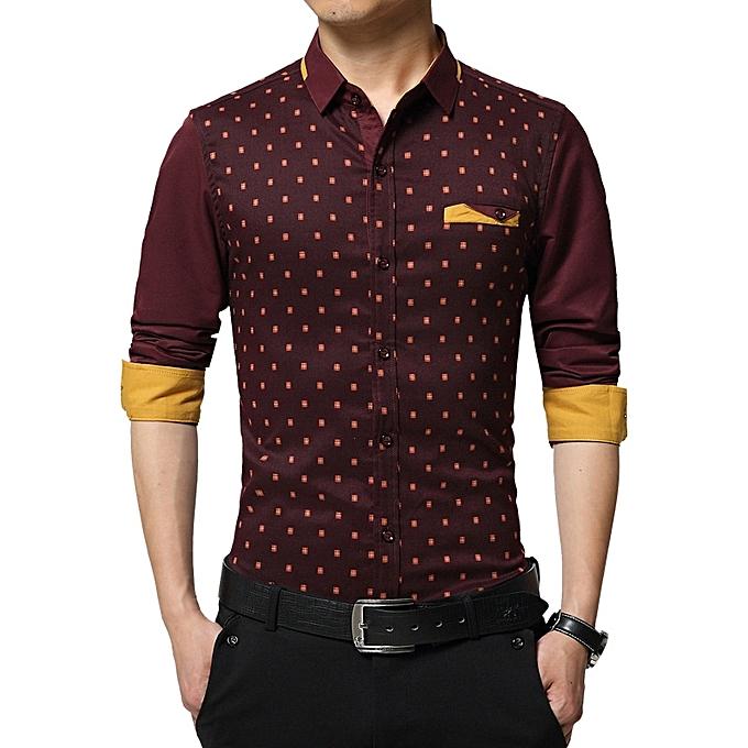 0220988c5d9b8 Men Shirt Spring Long Sleeve Turn-Down Collar Dress Polka Dot Print Casual  Shirt Men ...