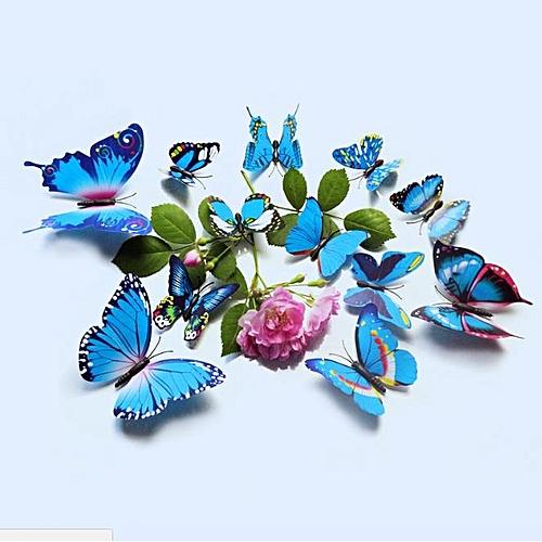 12Pcs 3D Butterfly Sticker Blue#4.5/7/9/12 Cm