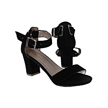 38a258c72b6 Ladies Ankle Strap Shoes Moderate Block Heel Sandal-Black
