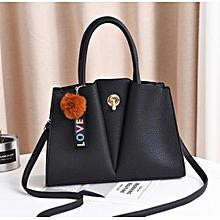 4af4377a7af Women Quality PU Hard Leather Shoulder Handbag - Black
