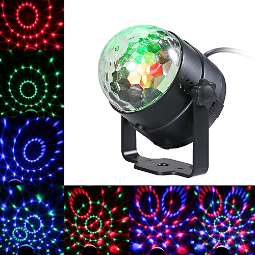 Auto Sound Activated 3W RGB LED Mini Crystal Magic Rotating Ball Effect LED Stage Lights For KTV Xmas Party Wedding Show Club Pub Disco DJ