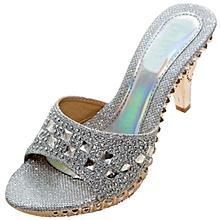e3d13b69b80 Women  039 s PU Sandal Slipper Open Toe High Heel Slide Sandal Color Silver