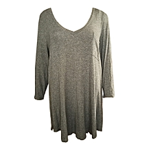 f49a70d96e1 Hi-Lo Long Sleeved V-Neck Top With Chest Pocket - Grey