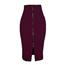 Front Zip-Through Slit Pencil Midi Skirt - Maroon