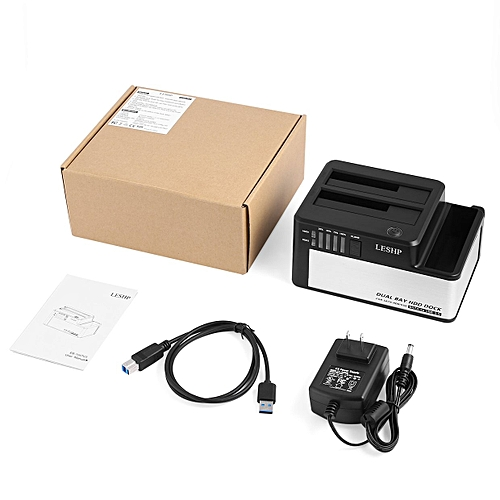 """Dual Bays HDD Docking Station USB 3.0 To SATA For 2.5 & 3.5"""" SSD""""Black & Silver"""