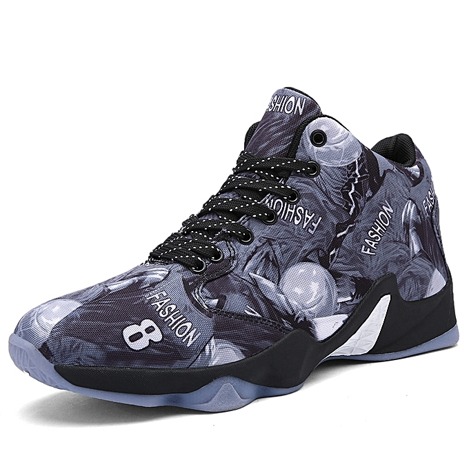 706b234b9b9 3D Print Men Basketball Shoes Canvas Outdoor Running Athletic Shoes (Grey)